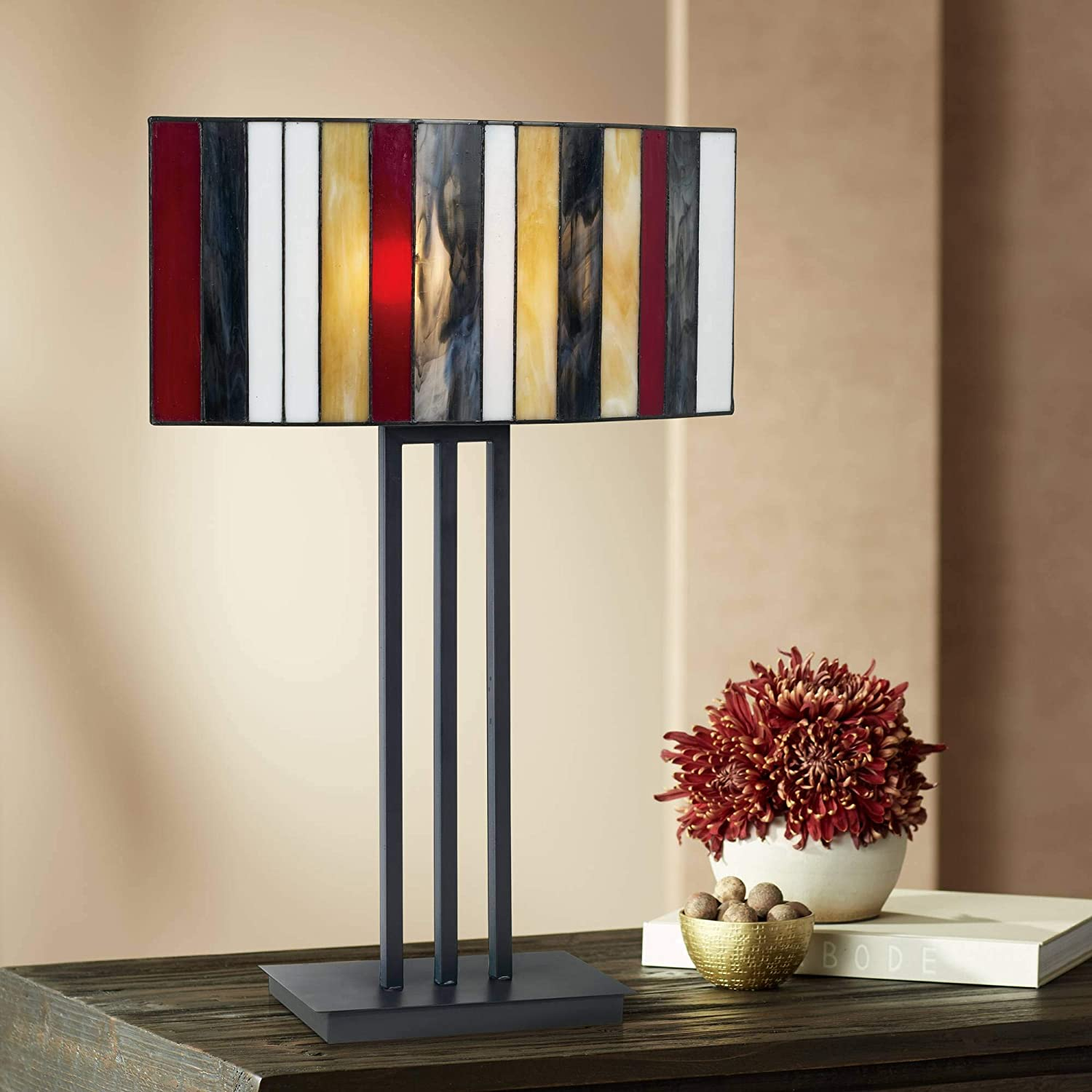 Modern Tiffany Style Table Lamp Decor Bronze Brown Iron Multi Color Striped Stained Glass Shade for Living Room Bedroom House Bedside Nightstand Home Office Reading Family - Robert Louis Tiffany