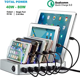 Charging Station for Multiple Devices Compact Charger Station Organizer for Apple iPhone iPad Samsung Kindle (6 Port)