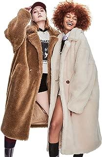 Murfhee Women's Fashion Lapel Real Sheep Fur Thick Coat Maxi Long Parka Winter Warm Jacket