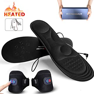 Memory Foam Heated Insoles with Power Display,BIAL Heated Foot Warmer Insole with Rechargeable Battery Powered,Adjustable Temperature Electric Pads Feet Warmers for Men Women Warm Feet on Winter