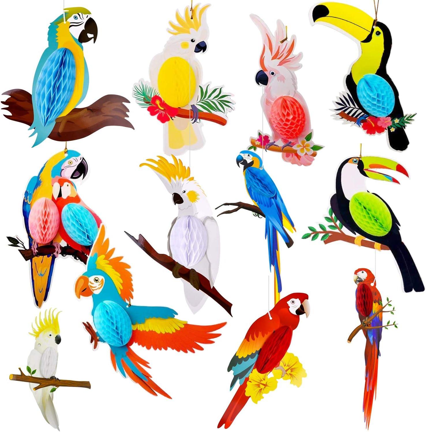 Max 60% OFF 12 Pieces Tropical Birds Honeycomb Los Angeles Mall Hawaiian Paper Cutouts Parrot