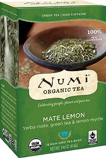 Numi Organic Tea Mate Lemon, 18 Count Box of Tea Bags, Yerba Mate Green Tea Blend (Packaging May Vary)