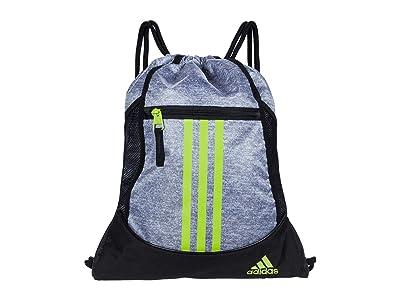 adidas Alliance II Sackpack (Jersey Grey/Semi Solar Slime/Black) Backpack Bags