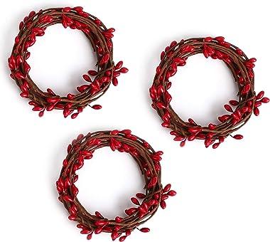 3 Pcs Artificial Pip Berry Garland,Christmas Garland Winter Garland for Indoor Outdoor Wedding Decor (Red)