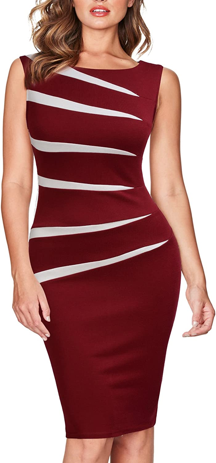 FORTRIC Women Slim Stitching Bodycon Business Wear to Work Party Pencil Dress