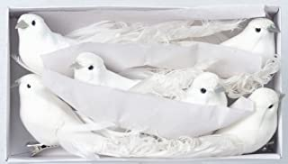 Set of 6 White Christmas Dove Ornaments With Clips