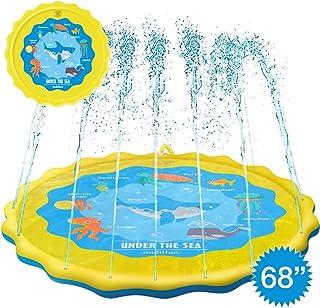 """multifun Upgraded 68"""" Splash Pad, Sprinkle & Splash Play Mat, Safe Sprinkler for Kids, Large Sprinkler Pad with Storage Bag, Children Sprinkler Pool, Wading Pool for Toddler, Outdoor Party Water Toys"""