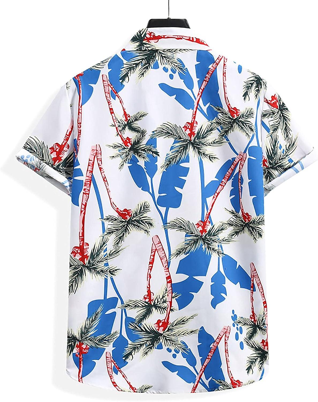 Men's Flower Casual Button Down Shirts Short Sleeve Hawaiian Shirt Summer Beach Shirts for Men