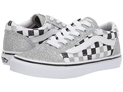 Vans Kids Old Skool (Little Kid/Big Kid) ((Glitter Checkerboard) Silver/True White) Girls Shoes