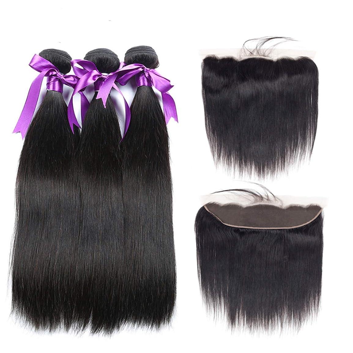 王室時系列カップルマレーシアストレートヘア3バンドル13 * 4レース前頭閉鎖髪織りバンドル非レミー人間の髪の毛の拡張子 (Length : 26 26 26Cl20)