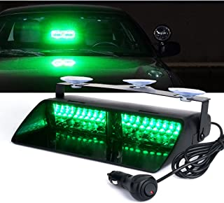 Xprite Green 16 LED High Intensity LED Law Enforcement Emergency Hazard Warning Strobe Lights For Interior Roof/Dash/Windshield With Suction Cups (GREEN)
