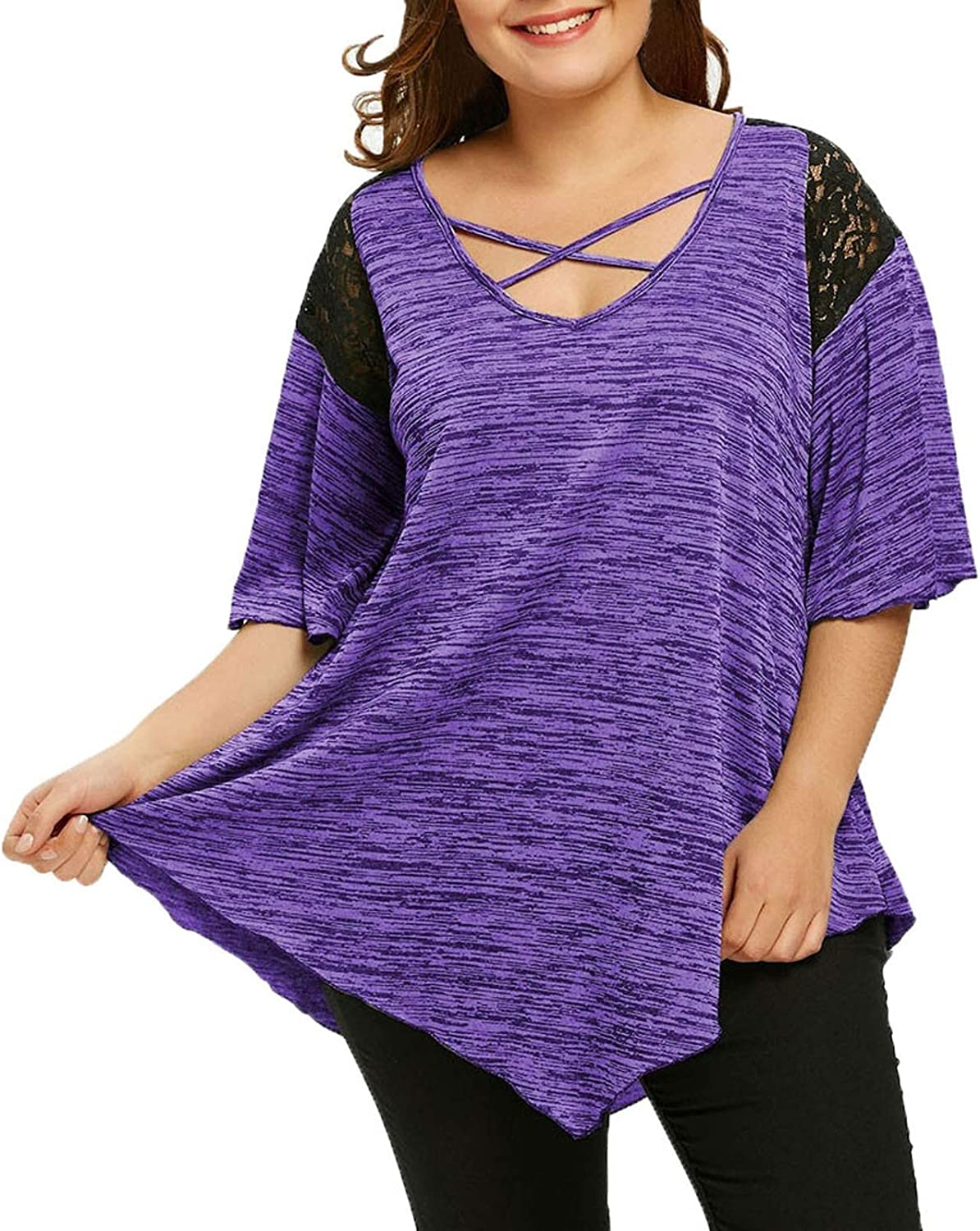 Smileyth Max 55% OFF Womens Plus Size Tunic free shipping Lace T-Shirt Criss Summer Casual