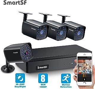 SmartSF CCTV 1.0 MP Kit de videovigilancia 4CH 1080N HD AHD DVR 4x720p 1500TVL Cámara de Vigilancia con visión Nocturna detección de Movimiento Smartphone PC fácil Acceso Remoto sin HDD