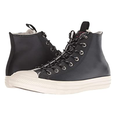 Converse Chuck Taylor All Star Leather Hi (Black/Driftwood/Driftwood) Slip on Shoes
