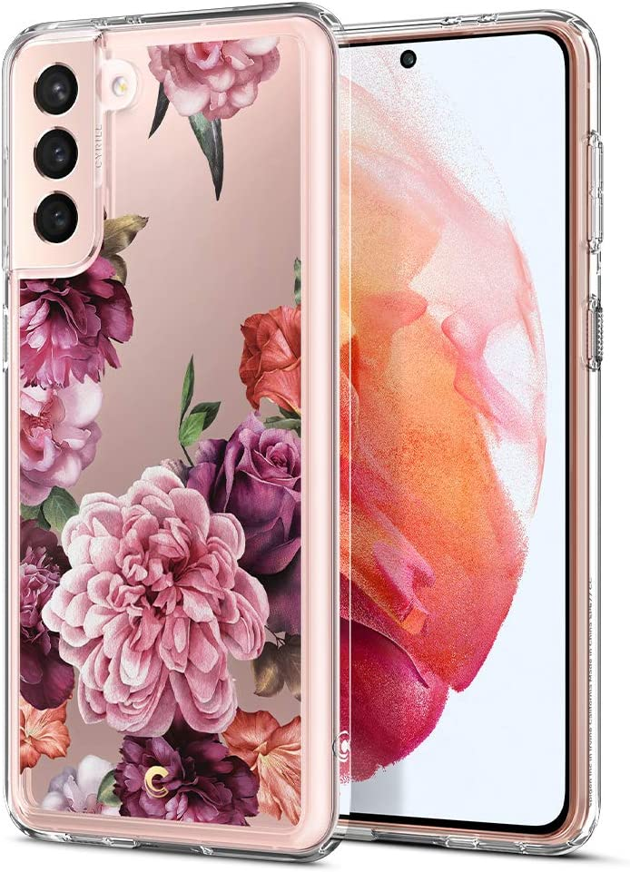 CYRILL Galaxy S21 case, Cecile Floral Flower Pattern Clear Case Designed for Samsung Galaxy S21 / Galaxy S21 5G Case (2021) - Rose Floral