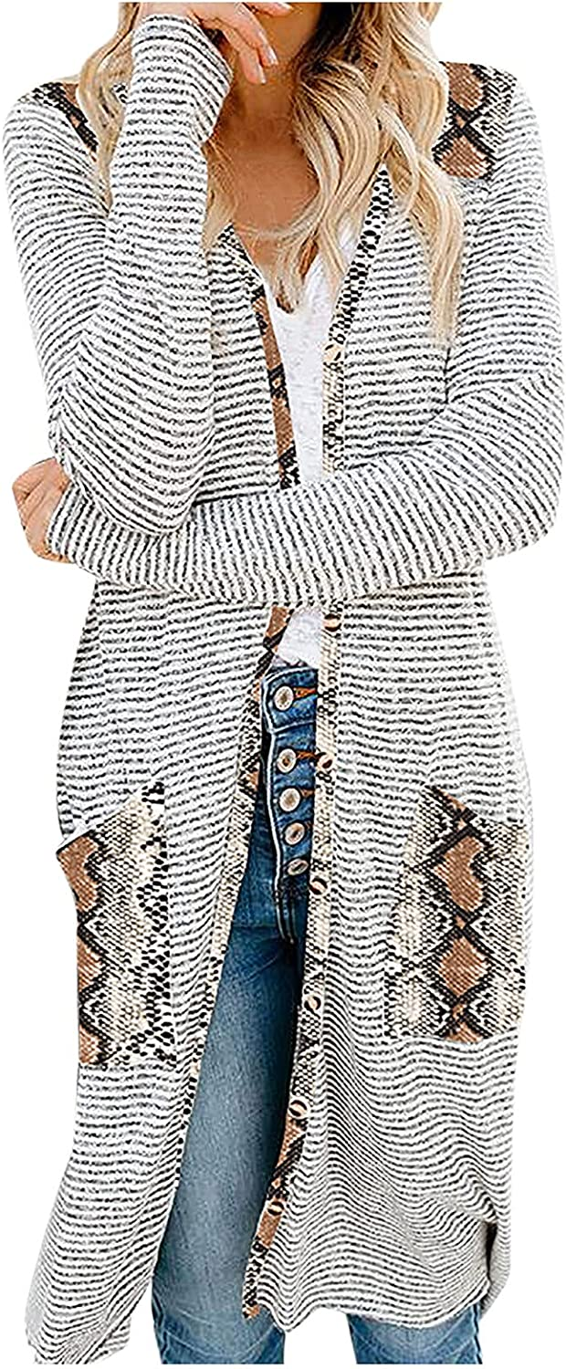 ZDNB 2021 Fashion Snake/Leopard Printed Womens Sweater Coat V-Neck Regular-fit Long Sleeve Blouse Cardigan Sweater Tops