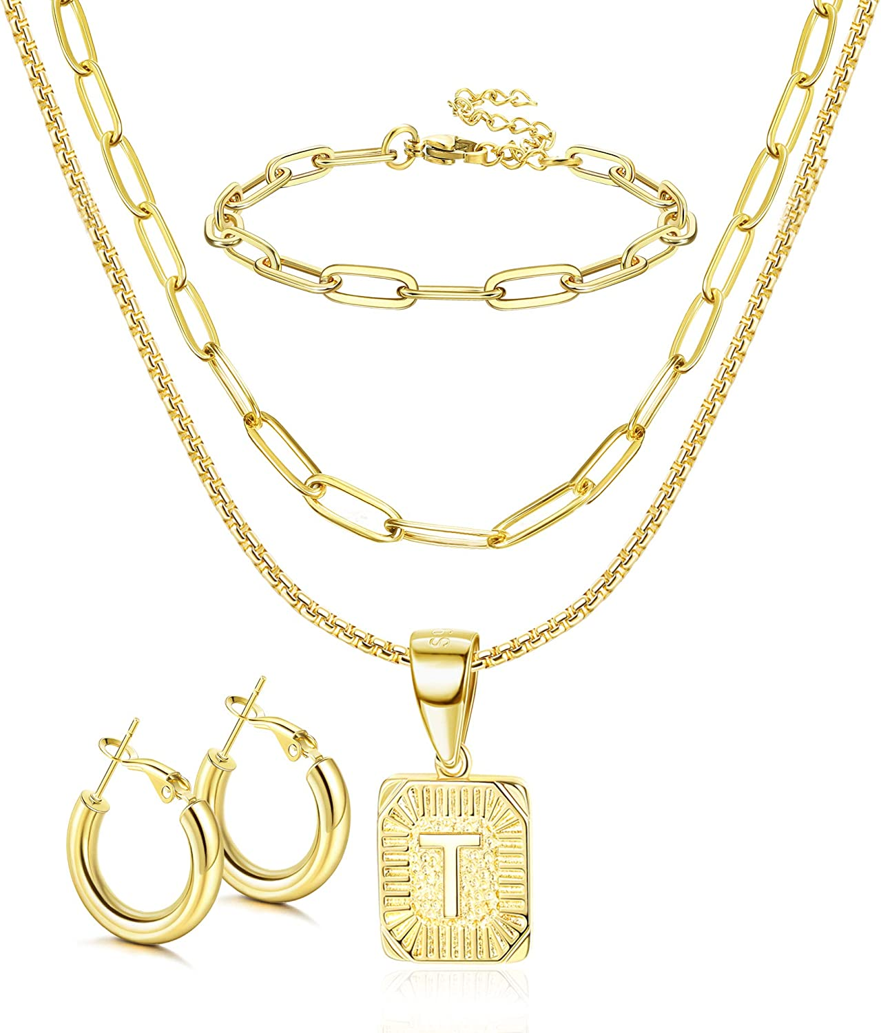 ORAZIO Initial Letter Pendant Necklace Mens Womens Thick 14K Gold Plated Hoop Earrings for Women Paperclip Chain Link Choker Necklace and Link Bracelet Set Gold Plated Jewelry Set for Women