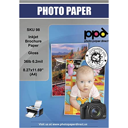 100 PPD Inkjet Brochure Paper Double Sided Glossy Finish 140gsm 37lb 8.5 x 11