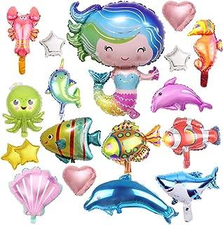 Marine Mermaid Party Balloons- 21 Pcs Mermaid Baby Shower Birthday Party Supplies Marine Theme Sea Animals Dolphins Starfish Fish Seahorse Foil Balloons