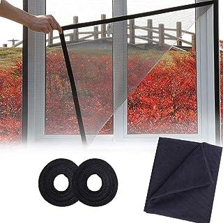 2 sztuki moskitiery do okien, [ulepszenia] moskitiera siatka na owady 1,3 m x 1,5 m ochrona przed owadami z 2 rolkami taśm...