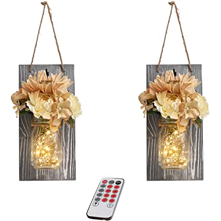 Mason Jar Sconces Wall Decor with Remote - GBtroo Farmhouse Sconces Wall Lighting for Home Living Room Kitchen Bedroom Decoration with 6-Hour Timer LED Lights Flowers,Set of 2(Large, Gray)