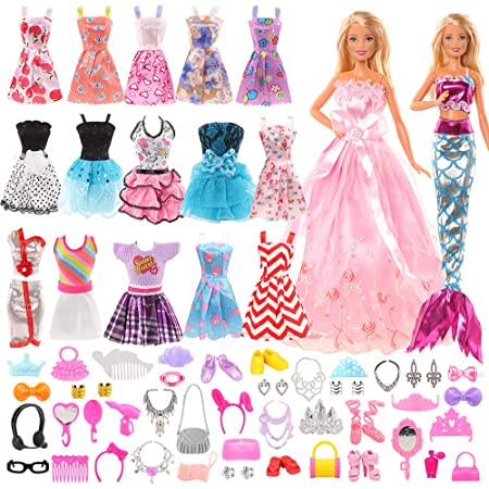 Miunana Value Lot 33 Pcs Clothes and Accessories Set for 11.5 Inch Dolls 13 Accessories for 11.5 Inch Dolls Suit for Home Play 20 Random Party Grown Outfits