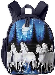 子供用 バックパック キッズバッグ ランドセル リュック通学 学童バッグ 馬の群れ 月夜 ガールズ ボーイズ バッグ