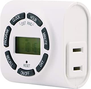 GE 7-Day Indoor Programmable Timer, 1 Outlet, Plug-In, Indoor, Digital Display, 7 Weekly Programs, Vacation Security Mode, for Lamps and Seasonal Lighting, LED, CFL, Incandescent Compatible, 15089