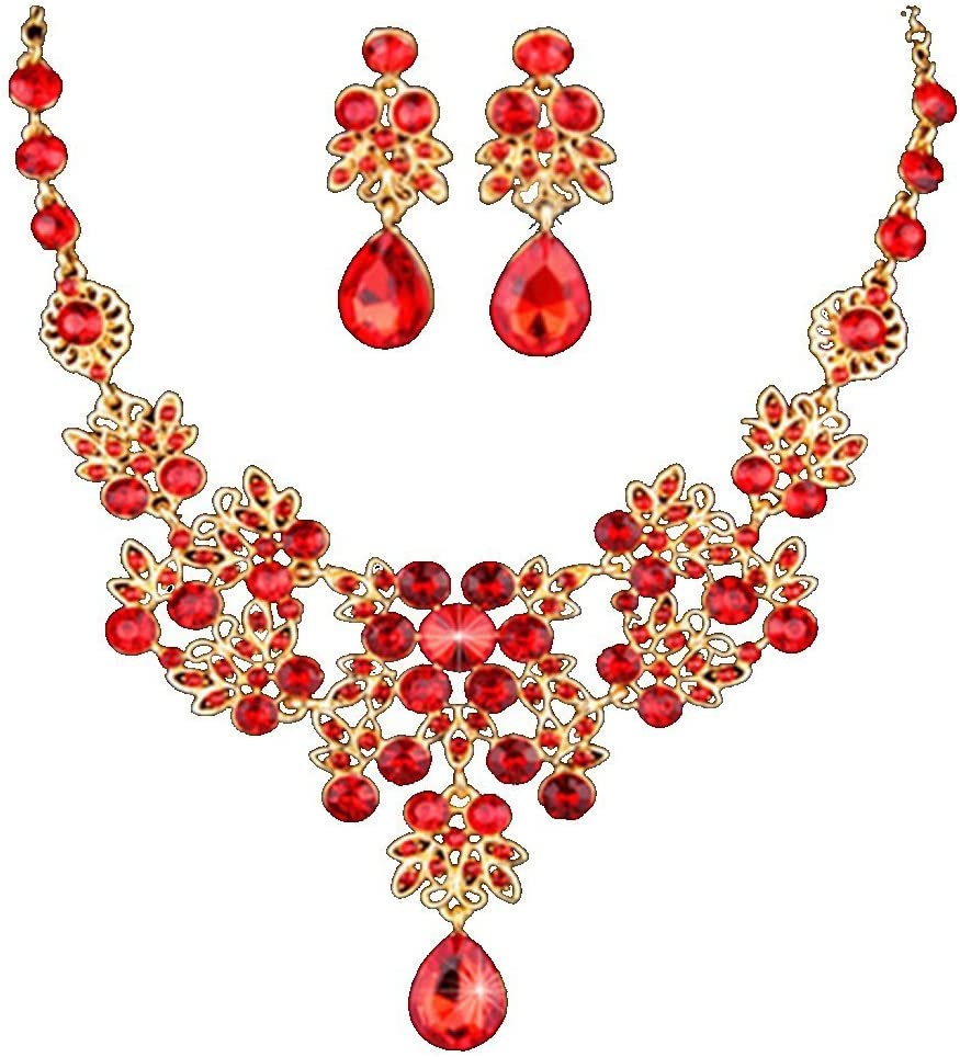 Lovely Vintage Costume Set Jewelry Hook Earrings Necklace Silver Tone Red  HandmadeChunky