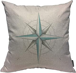 Mugod Compass Decoration Throw Pillow Cushion Covers Star Compass White Antique Wind Rose Symbol Print Funny Pillows Home Decor Couch Pillow Case 18 X 18 Inch
