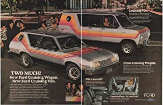 Magazine Print Ad: 1977 Ford Pinto Cruising Wagon and Cruising Van, Color Stripes, Bubble windows, Two Much!