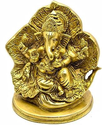 Metal Brass Ganesha Religious Idol Figurine Hindu God Sculpture