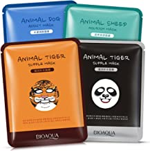 BIOAQUA Moisturizing Face Mask Sheet Enriched with Natural Serum for Radiant and Nourished Skin. At Home Spa Facial with Fun Animal Characters: Panda, Tiger, Sheep, Dog (4 Sheets Variety Pack)