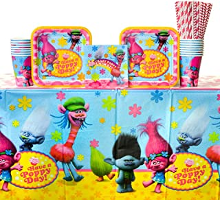 Trolls Party Supplies Pack for 16 Guests | 24 Paper Straws, 16 Paper Cups, 16 Dessert Plates, 16 Beverage Napkins, and 1 Plastic Table Cover | Birthday Plates and Napkin Sets | Trolls Decorations