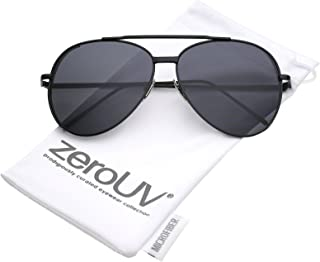 Classic Crossbar Metal Slim Arms Color Mirrored Teardrop Flat Lens Aviator Sunglasses 56mm