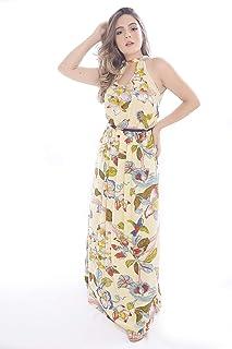 Vestido Mania de Sophia Longo Tropical Amarelo Claro