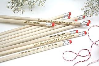 Matita con testo personalizzato, gruppo x50 matite, regalo di nozze per gli ospiti, gomma di colore rosa, per matrimonio
