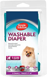 Simple Solution Washable Female Dog Diaper, Blue Green, X-Small