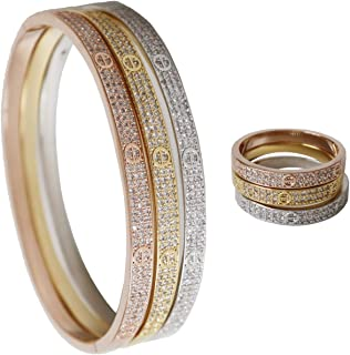 Cartier Love Bracelet and Ring Set, Adorned with Sparkling Swarovski Crystal Jewelry for Women, buy one get one gift