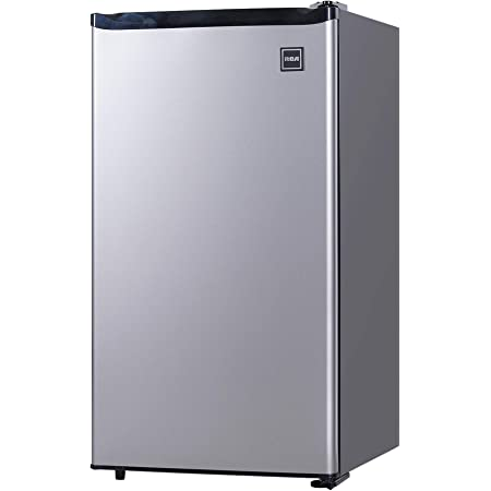 RCA RFR322-B RFR322 3.2 Cu Ft Single Door Mini Fridge with Freezer, Platinum, Stainless