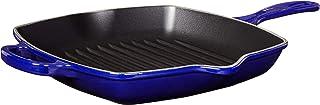 """Le Creuset LS2021-2678 Cast Iron Signature Square Skillet Grill, 10 1/4"""", Indigo"""