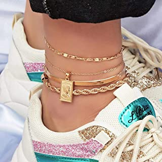 Tag Anklets Set for Teen 8 Pcs Bracelets Layered Anklets 14 K Gold Plated Summer Anklets Women Men Boys Girls Foot Jewelry
