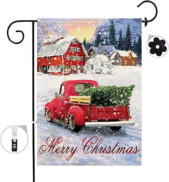 盆景树圣诞麻布花园旗帜双面红色卡车与圣诞树房子旗帜圣诞快乐冬天标志乡村户外装饰品院子 12x18 Prime