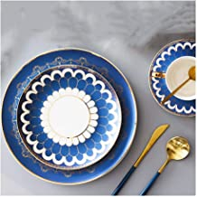 MIAOSSS Ceramic Tableware Set, Available in Pink and Blue. There are Four Styles to Choose from, and 7 Set Menus. Western-Style Cutlery, Steak Plate, Snack Plate, Coffee Cup.Blue-A
