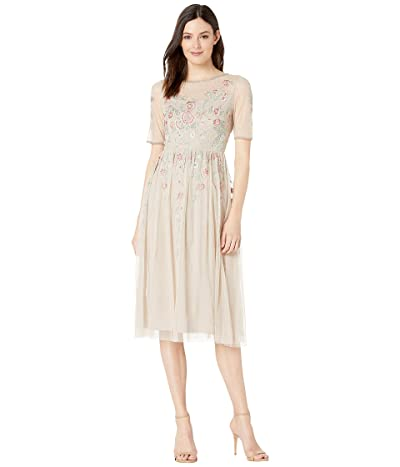 Adrianna Papell Floral Beading Tea-Length Cocktail Dress (Biscotti) Women