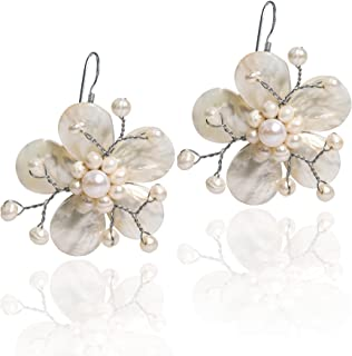Mother of Pearl and Cultured Freshwater Pearl Hawaiian Plumeria Flower .925 Sterling Silver Earrings