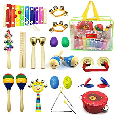 PETUOL Kids Musical Instruments 24pcs Wood Perc...