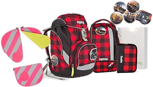 Ergobag Pack BaggerfürB Schulrucksack Set 7tlg. mit Reflektorstreifen nach Wahl