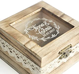 ZXB JEWELRY Personalized Wooden Wedding Ring Box,Rustic Wedding Ring Bearer Box,Custom Ring Holder