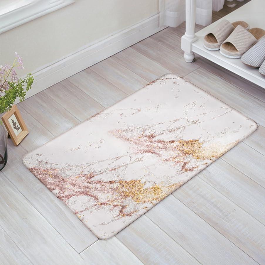 Modern Rose Gold Marble Triangle Door Mats Kitchen Floor Bath Entrance Rug Mat Absorbent Indoor Bathroom Decor Doormats Rubber Non Slip 18